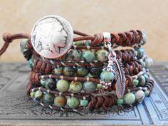 Leather Wrap BraceletSouthwestern Wrap by BeadilyBeautiful on Etsy