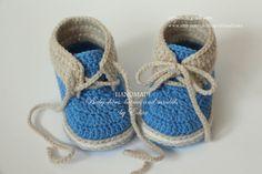 Вязание крючком Детские пинетки, детские мальчика туфли, ботинки, кроссовки, светло-коричневый, синий, белый, готов к отправке, фото prop, Размер 3-6 мес, подарок