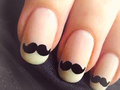 Cute Gel Nails, Hot Nails, Pretty Nails, Nail Designs Tumblr, Cute Nail Art Designs, Pinterest Design, Moustache Nails, Movember Mustache, Black And White Nail Designs