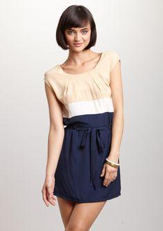 ANM-Beige Cap Sleeve Colorblock Dress