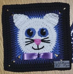 Crochet Granny Square Patterns Ravelry: Project Gallery for Funny Face Square pattern by Carola Wijma - Crochet Cat Pattern, Granny Square Crochet Pattern, Crochet Granny, Crochet Motif, Crochet Baby, Crochet Squares Afghan, Crochet Blocks, Afghan Crochet Patterns, Granny Squares