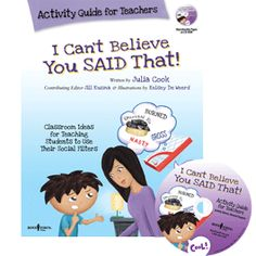 Classroom ideas and activities for teaching the benefit of using a social filter and choosing appropriate words to say. For students in grades Julia Cook, Biology Lessons, Social Thinking, Help Teaching, Elementary Education, School Counseling, Social Skills, Book Activities, Classroom Management