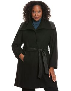 46a7df6ff84 LANE BRYANT PLUS SIZE BLACK FAUX WOOL COAT WITH OVERSIZED COLLAR WOMENS  18 20