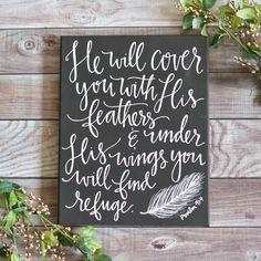 Psalm 91:4 Chalkboard Canvas