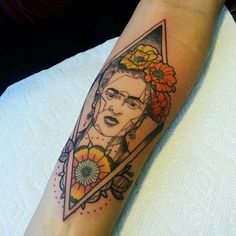 Frida Kahlo geometric tattoo by Andre Bernal at Death Before Dishonor in San Jose, CA