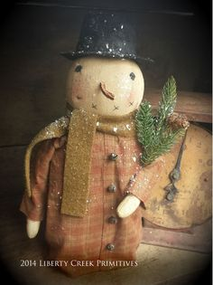Primitive handmade Snowman Plaid Flannel Coat by liberty creek - Liberty Creek Primitives
