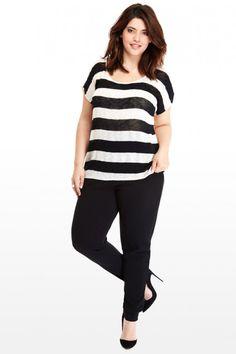Plus Size Elle Stripe Top   Fashion To Figure #PlusSizeFashion #FashionToFigure