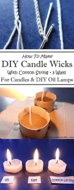 How To Make DIY Candle Wicks With Cotton String - Sew HistoricallyYou can find Make candles and more on our website.How To Make DIY Candle Wicks With Cotton St. Diy Candle Wick, Candle Craft, Beeswax Candles, Diy Candles, Scented Candles, Candle Wicks, Candle Holders, Soy Candle Making, Candle Making Supplies