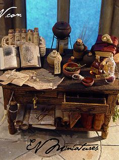 miniature artist specializing in leather bound books. I also make an array of wizard, witch, and other strange and sometimes macabre fantasy miniatures. Vitrine Miniature, Miniature Rooms, Miniature Furniture, Haunted Dollhouse, Haunted Dolls, Dollhouse Miniatures, Dollhouse Ideas, Witch Cottage, Witch House