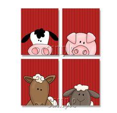 PEEKING Farm Animals Artwork Set of 4 8x10 by FinalTouchesArtwork, $20.00