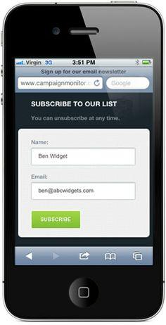 Mobile subscription form
