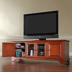 Crosley Cambridge Cherry Entertainment Center - The Home Depot Low Profile Tv Stand, Low Tv Stand, Tv Stand Brown, Tv Stand 75 Inch, Cambridge, Wooden Screen Door, Raised Panel Doors, Flat Panel Tv, Cool Furniture