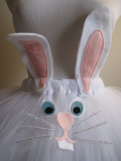 Easter Bunny Tutu with a fluffy bunny tail and matching ear headband