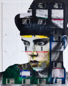 nick gentry recycled art from floppy disks, cassette tapes