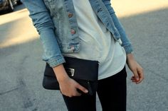 jean jacket and clutch