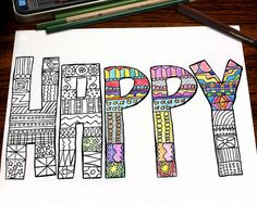 Color Me Happy Coloring Page for Adults Handdrawn by PaperDahlsLLC
