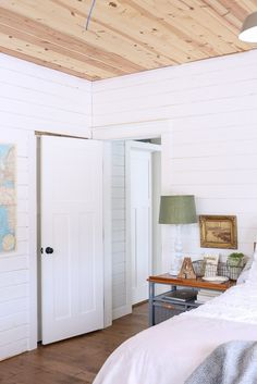 Raw Pine Ceiling Drywall Alternative Bed Shiplap Bedroom