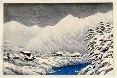 In the Snow, Nakayama-shichiri Road, Hida - 1924 Kawase Hasui