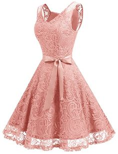 Dressystar Women Floral Lace Bridesmaid Party Dress Short Prom Dress V Neck XS Blush at Amazon Women's Clothing store: