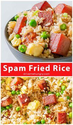 Spam Recipes, Easy Asian Recipes, Vegan Recipes Easy, Side Dish Recipes, Rice Recipes, Pork Recipes, Easy Dinner Recipes, Easy Meals, Kitchen Recipes