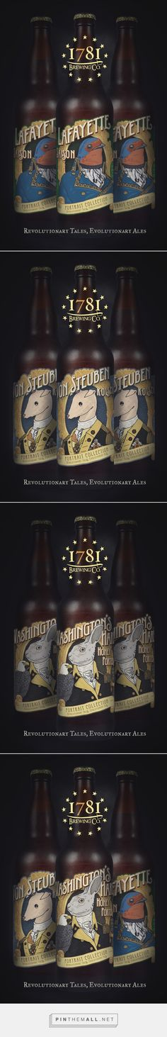 1781 Brewing Co. Portrait Series on Behance curated by Packaging Diva PD. Illustrations based on historical themes that revolve around events and people involved in America's early days as a nation. Comical and humorous tone for the packaging smile file : )