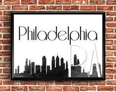 Items similar to Philadelphia Print Printable Maps, Printable Wall Art, Philadelphia Skyline, Greeting Cards, Wall Decor, Flags, Handmade Gifts, Cities, Poster
