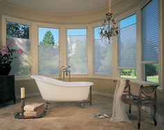 Custom #HunterDouglas Horizontal (Silhouette & Pirouette) Shades for your dream bathroom at Elite Interiors. Serving Edmonton, Sherwood Park & Surrounding Areas. #HorizontalShades #YEG