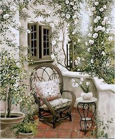 Garden Terrace by Susan Rios ~ white climbing roses ~ cozy patio Outdoor Rooms, Outdoor Gardens, Outdoor Living, Outdoor Decor, Dream Garden, Home And Garden, Pinterest Garden, Garden Spaces, Garden Nook