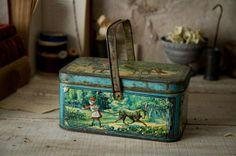 アンティークフランス赤ずきんちゃんパニエ型ティン缶nn 405 インテリア 雑貨 家具 Antique tins ¥16800yen 〆05月09日