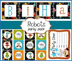 Free Birthday Party Printables-Robot Party Theme   Banners, party Circles, Invitations Etc