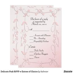 Delicate Pink RSVP w