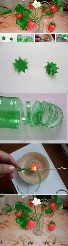 Клубника из бутылок / Поделки из пластиковой бутылки своими руками для сада / дачи / огорода, видео и фото мастер классы