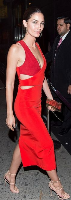 Lily Aldridge: Dress – Dion Lee  Shoes – Giuseppe Zanotti