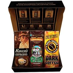 Cafe Don Pablo Holiday Gift Box Coffee Sampler  Variety of 3 Whole Bean Coffee  3  12oz bags  Guatemala Rocco Espresso Char Beanz DARK Roasted Coffee >>> This is an Amazon Associate's Pin. You can find out more details at this Amazon Affiliate link.