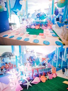 Party tables from a Finding Dory Under the Sea Birthday Party on Kara's Party Ideas | KarasPartyIdeas.com (17)