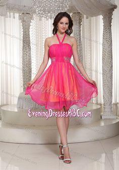 Fashional Halter Beaded Hot Pink Cocktail Evening Dress under 100