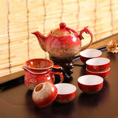 Flambe Glazed Chinese Tea Set