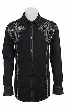 Roar® Mens Black Captivate Embroidered Long Sleeve Western Shirt | Cavenders Boot City