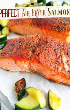 Trying to find keto recipes? The BEST keto recipes which can be made in 5 minutes or less. You don't want to skip these. Air Fryer Fish Recipes, Air Frier Recipes, Air Fryer Dinner Recipes, Power Air Fryer Recipes, Air Fryer Recipes Vegetables, Vegetable Recipes, Healthy Salmon Recipes, Seafood Recipes, Cooking Recipes