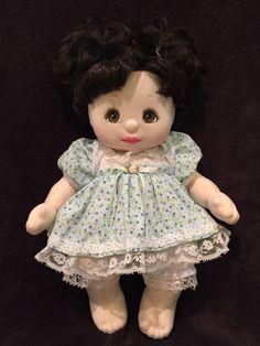 Vintage Mattel 1985 MY CHILD DOLL- Piggytails Brunette-Brown Eyes + Dress #Dolls