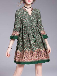 Shop Mini Dresses - Boho Floral-print 3/4 Sleeve Holiday Dress online. Discover unique designers fashion at StyleWe.com.