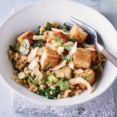 In this superhealthy vegetarian main course, blogger Sara Forte of Sprouted Kitchen serves sweet-spiced tofu over a warm kale-and-barley salad.
