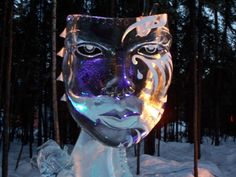 Ice Sculpture Mask - The white markings are an example of use of a slurry of snow and water–