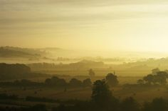 Harewood Bank - on a late September morning, with the mists covering the valley bottom. Seen from the Leeds to Harrogate road.