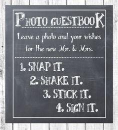 Polaroid gast boek instructies afdrukken door CasualCalligraphyLiz