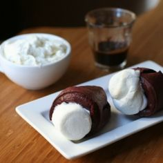 red velvet popovers with cream cheese dipping sauce