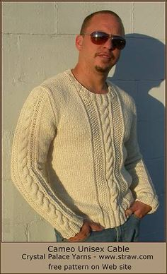 Cameo Easy Aran Cable Unisex Pullover - free knit cable sweater pattern - Crystal Palace Yarns Sweater Knitting Patterns, Knitting Designs, Mens Knit Sweater Pattern, Cable Knit Sweaters, Men Sweater, Crystal Palace, Men's Tanks, Men Pants, Baseball Tees