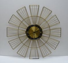 Vintage Wall clock Mid-Century Retro 26 inch Wire Dome glass Cover on Etsy, $65.00