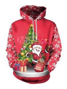 efe43f13fe393 Women Red Hoodies Christmas Print Drawstring Long Sleeve Hooded Sweatshirt   Christmas