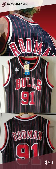 Dennis Rodman Chicago Bulls Black Pinstripe Jersey BRAND NEW WITH TAGS DENNIS  RODMAN CHICAGO BULLS THROWBACK 3a32c0028